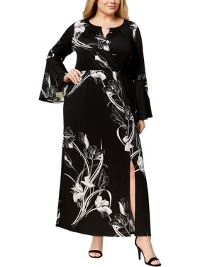 50fa1f30a6 Product Image NY Collection Womens Plus Floral Print Casual Maxi Dress Navy  3X