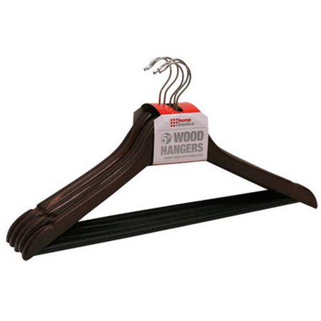 Sunbeam Non-Slip Wood Hanger, Pack of 5, Cherry