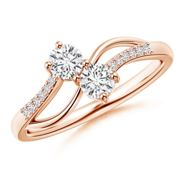 April Birthstone - Split Shank Classic Two Stone Diamond Bypass Ring with Diamond Accent in 14K Rose Gold (Weight: 0.36ctwt)