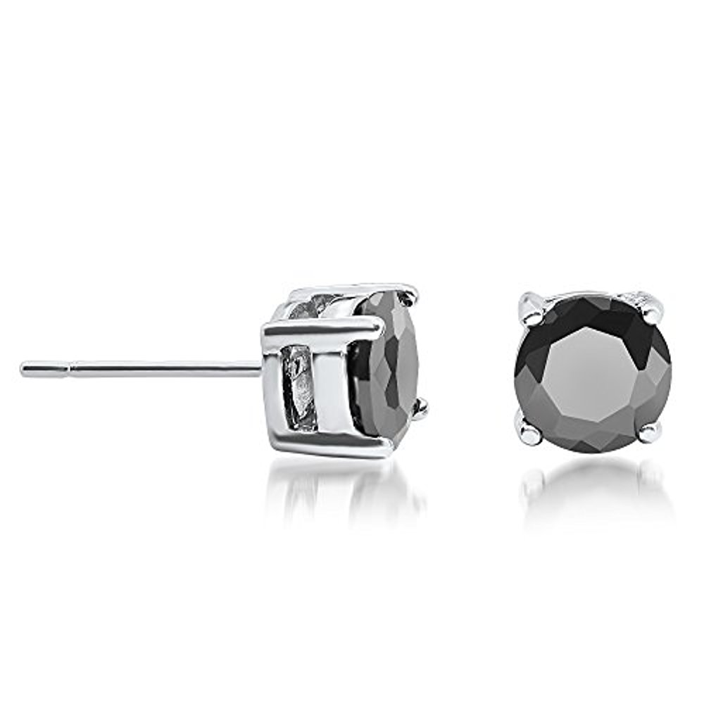 Buyless Fashion Girls Stud Earrings Silver With White Round Crystal CZ Gift Box