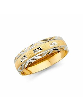 Solid 14k Two Tone Men's Yellow Gold Multiple Stone CZ Cubic Zirconia Wedding Band Engagement Ring (0.25 ct.)