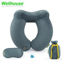 Wellhouse Set Of 4 Inflatable U Shape Neck Pillow Detachable Neck Cushion Kit Washable & Portable Travel Pillow