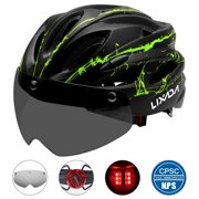 Lixada Lightweight Bike Cycling Helmet with Detachable Magnetic Goggles and LED Light Mountain Road Bicycle Helmets Outdoor Sport Safety Protective Helmet 18 Vents