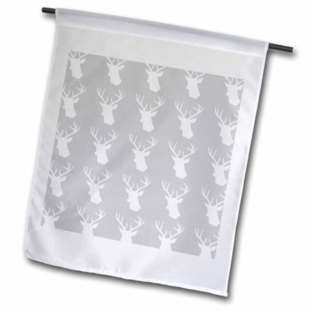 Image of 3dRose White deer head pattern on grey. Stag with antlers on gray silver - Garden Flag, 12 by 18-inch