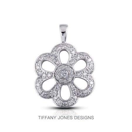 0.86ct tw E-VS2 Exc Round Natural Diamonds 18k Gold Flower Fashion Pendant (Tiffany Jewellery Designs)