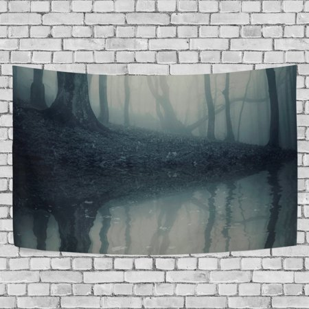 Halloween Living Room Decor (MYPOP Forest With Fog On Halloween Tapestry Wall Hanging Decoration Home Decor Living Room Dorm 90 x 60)