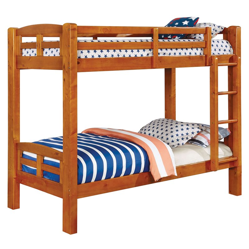Furniture of America Gastrom Twin Over Twin Bunk Bed in Oak