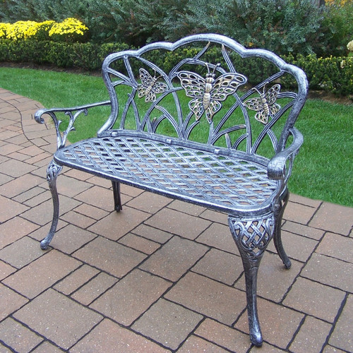 Butterfly Outdoor Love Seat Bench, Antique Bronze