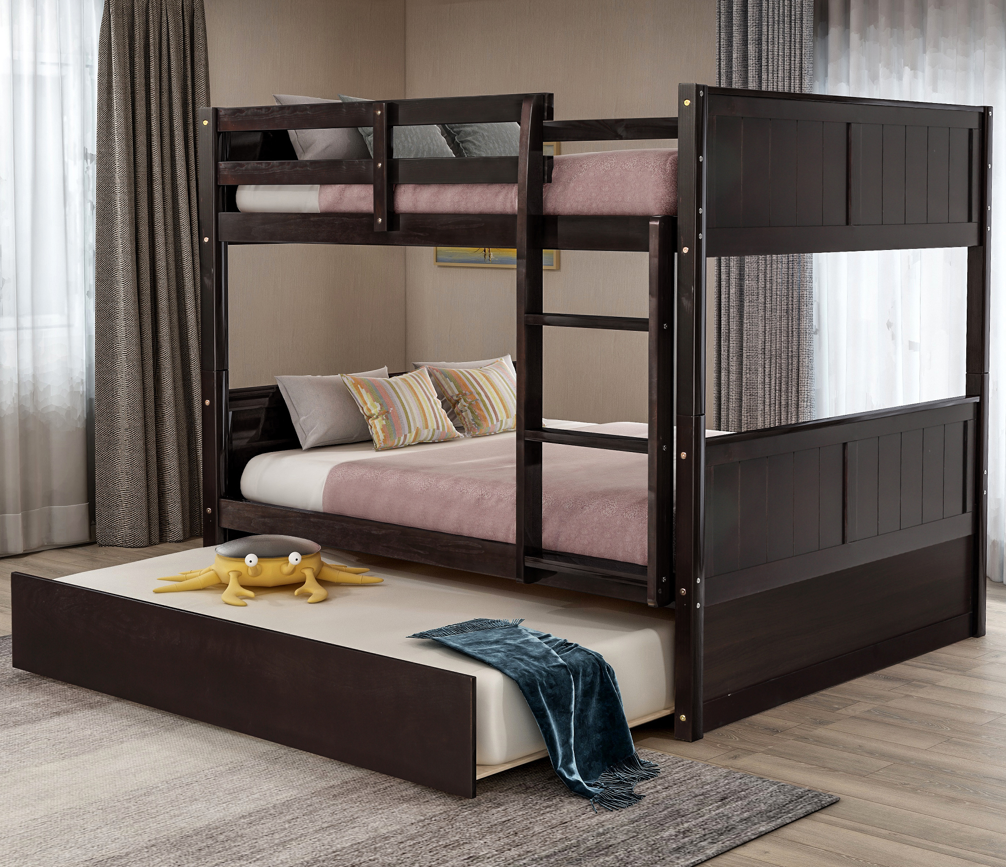 Picture of: Full Over Full Bunk Bed With Twin Size Trundle Solid Wood Bunk Beds Full Over Full With Safety Rail Ladder Convertible To Two Full Size Platform Bed Bunk Bed For Kids Teens Adults Espresso