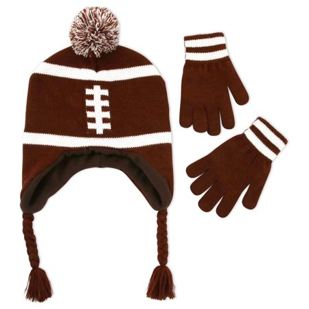 Big Boys Football Laplander Hat and Gloves Set, Brown, One Size (Boys Hats And Gloves)