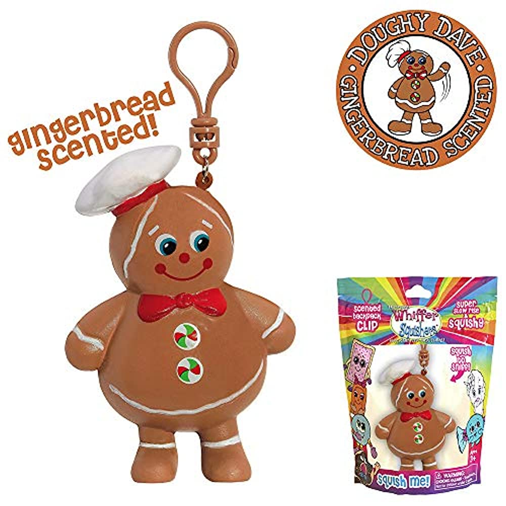 4 Pack Party Favors Xmas Gift by 4Es Novelty Stocking Stuffers for Kids Christmas Squishy Slow Rising Toys Keychain Squishy Gingerbread Man Clip On