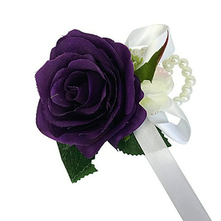 Wrist Corsage with pearl wristband-artificial roses hydrangea (purple)