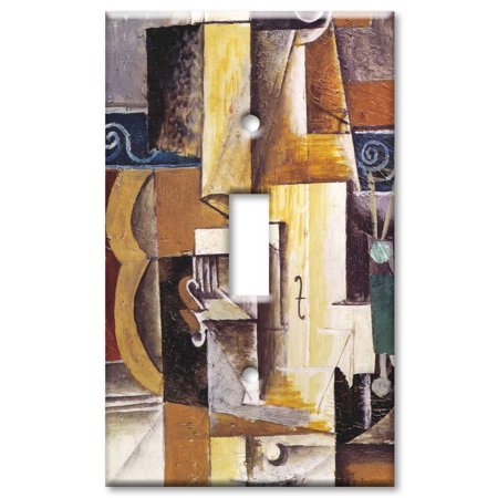 Single Gang Toggle OVERSIZE Wall Plate - Picasso: Violin & Guitar ()