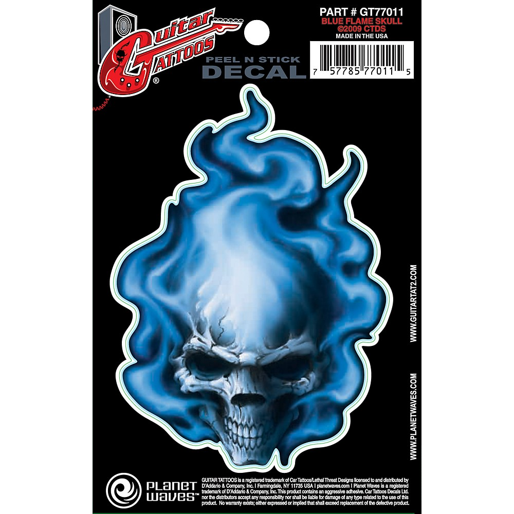 D'Addario Planet Waves Guitar Tattoo Decal Blue Flame Skull
