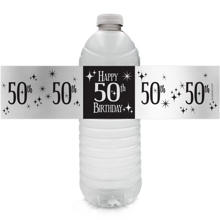 Silver Foil 50th Birthday Bottle Labels - 24ct - Black and Silver Birthday Party Supplies - 24 Count Water Bottle Stickers (Black And White 50th Birthday Decorations)