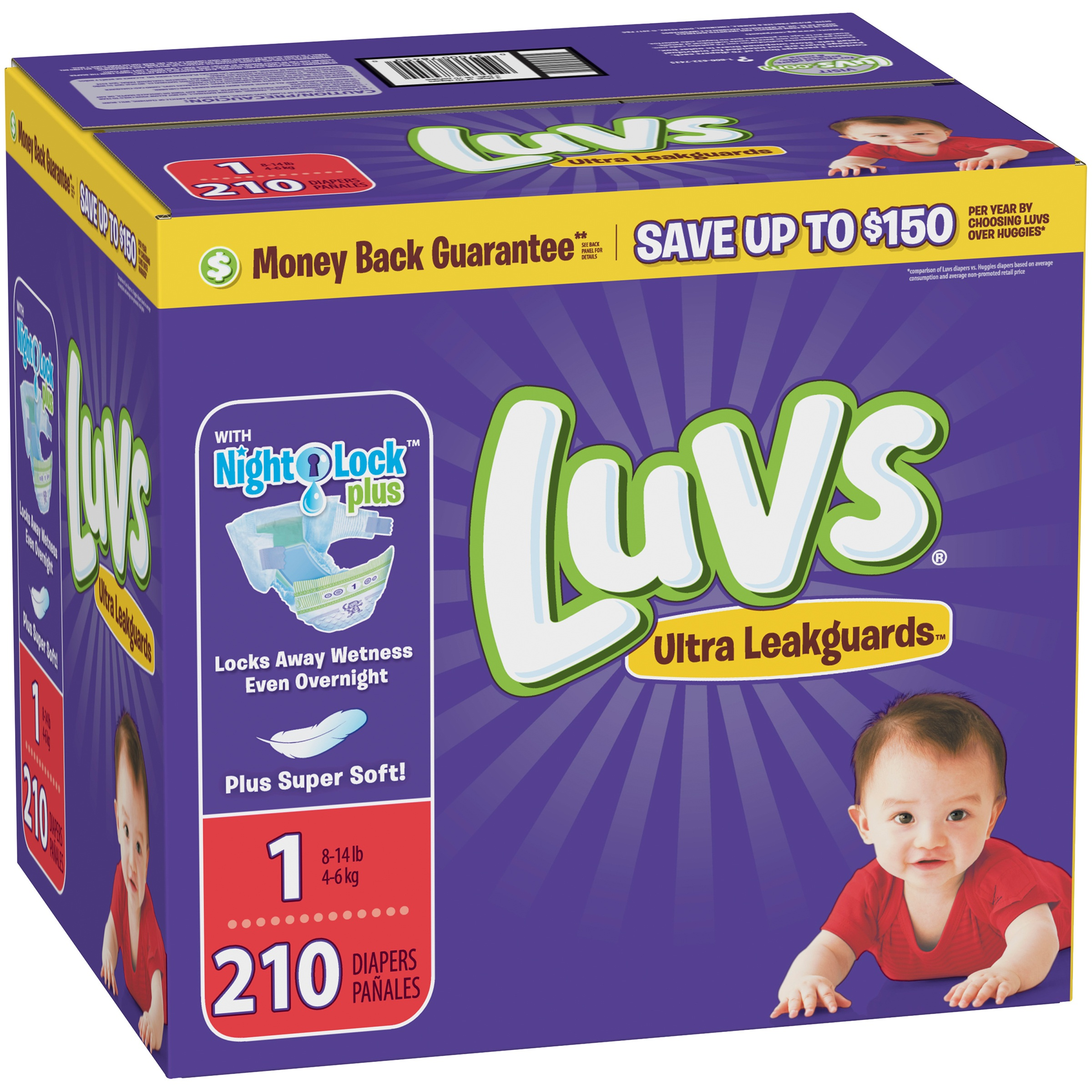 Luvs Ultra Leakguards Newborn Diapers Size 1, 210 Diapers