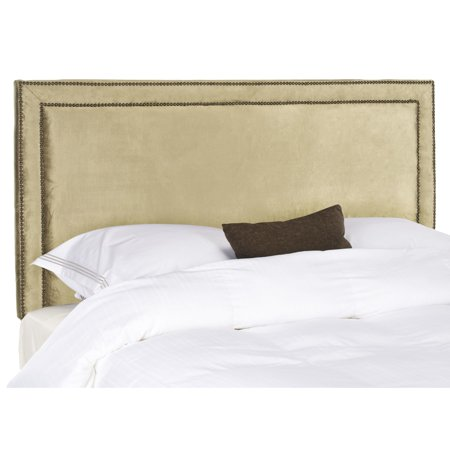 Safavieh  Cory Antique Sage Upholstered Headboard - Brass Nailhead (Queen)