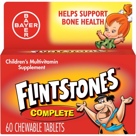 Flintstones Complete Chewables Children's Multivitamins, Kids Vitamin Supplement with Vitamins C, D, E, B6, and B12, 60 Count