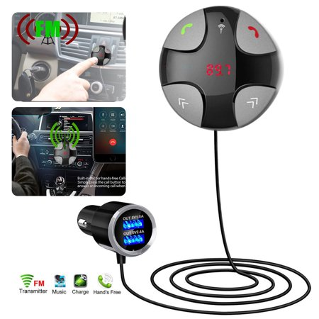 Bluetooth FM Transmitter, EEEKit Wireless in-Car FM Transmitter Radio Adapter Car Kit, Universal Car Charger with Dual USB Charging Ports, Hands Free Calling for All