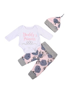 727e1cbb3476 Product Image Baby Girls Daddy's Little Princess Bodysuit Romper With  Floral Pant And Hat 3pcs Outfits 0-. Gaono