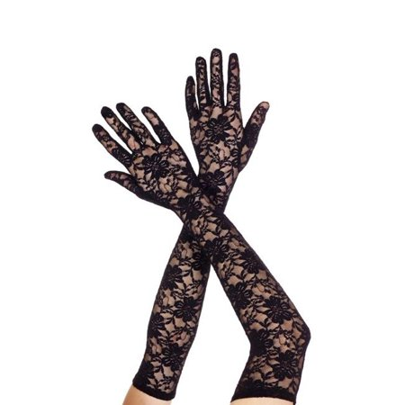 Music Legs 464-BLACK Extra Long Lace Gloves, Black - Black Lace Gloves