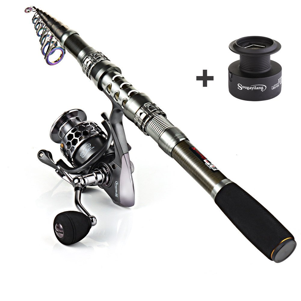Sougayilang Telescopic Fishing Rod and Spinning Reel Combos - Portable Fishing Rod Pole and Fishing Reels for Travel Saltwater Freshwater Fishing