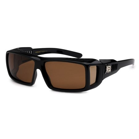 POLARIZED Cover Put Over Sunglasses Wear Rx glass fit driving MEDIUM UV, Brown Lens