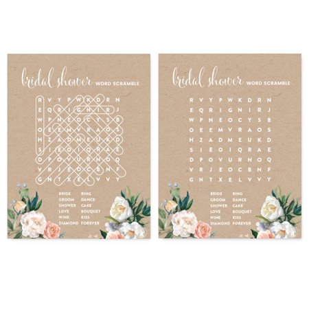 Peach Coral Kraft Brown Rustic Floral Garden Party Wedding, Word Search Bridal Shower Game Cards, - Coral Bridal Shower Decorations