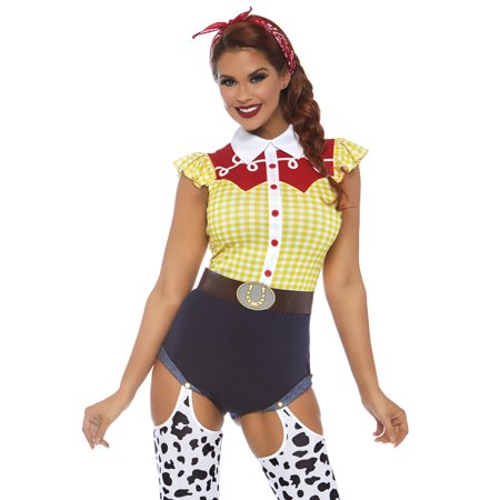Leg Avenue Women's 3 PC Jessie Cowgirl Costume, Multi, - Jessie J Halloween