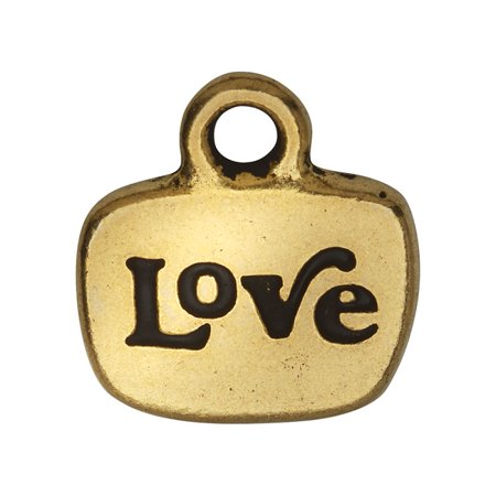 Love Glue (TierraCast Message Charm, Love with Glue In Space 14mm, 1 Piece, Gold)