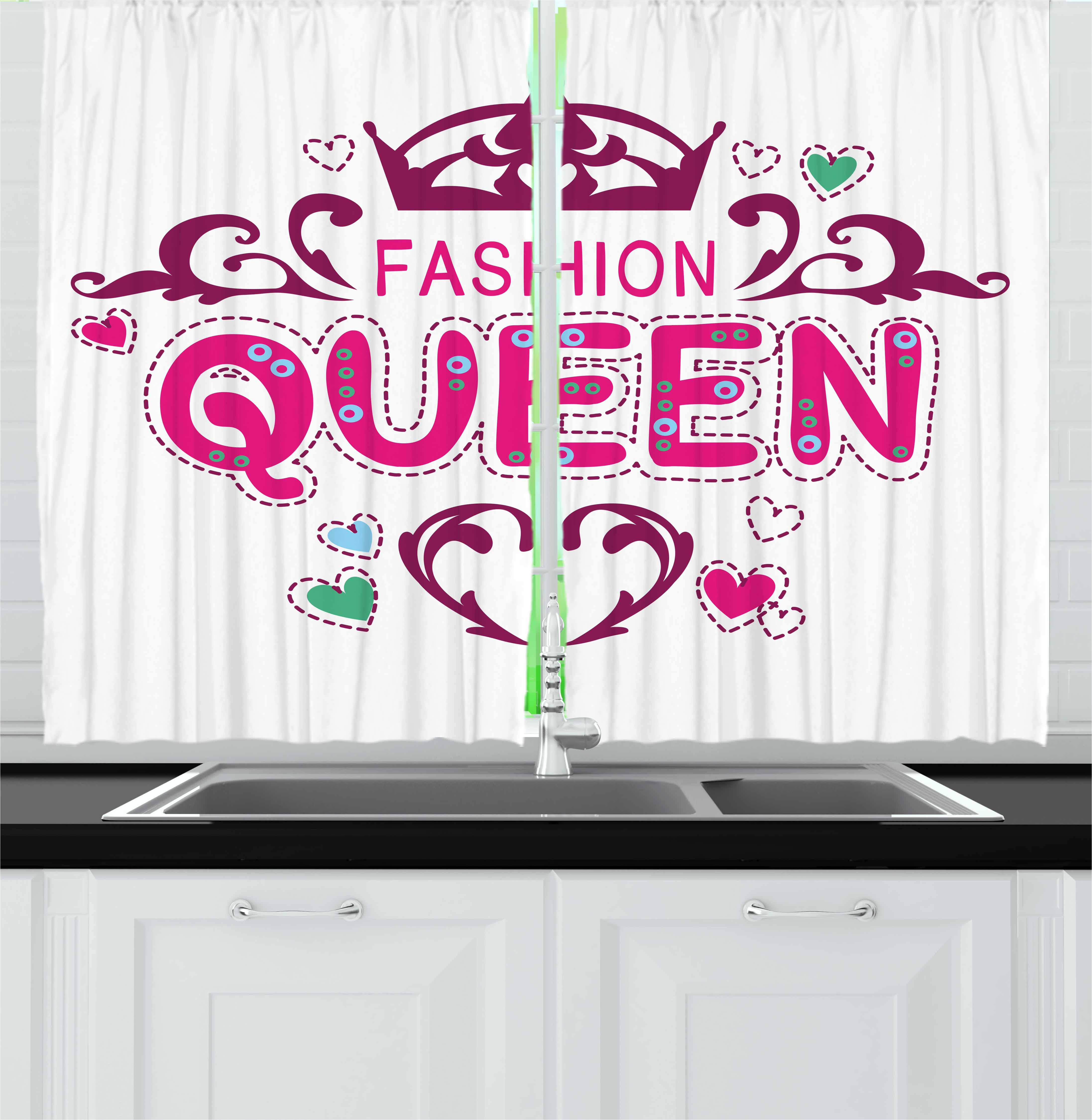 Queen Curtains 2 Panels Set, Girlish Print Fancy Fashion ...