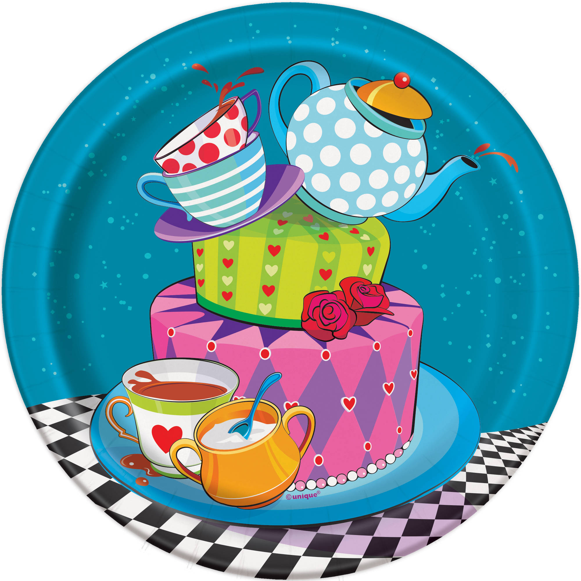 "7"" Alice in Wonderland Tea Paper Dessert Plates, 8ct"