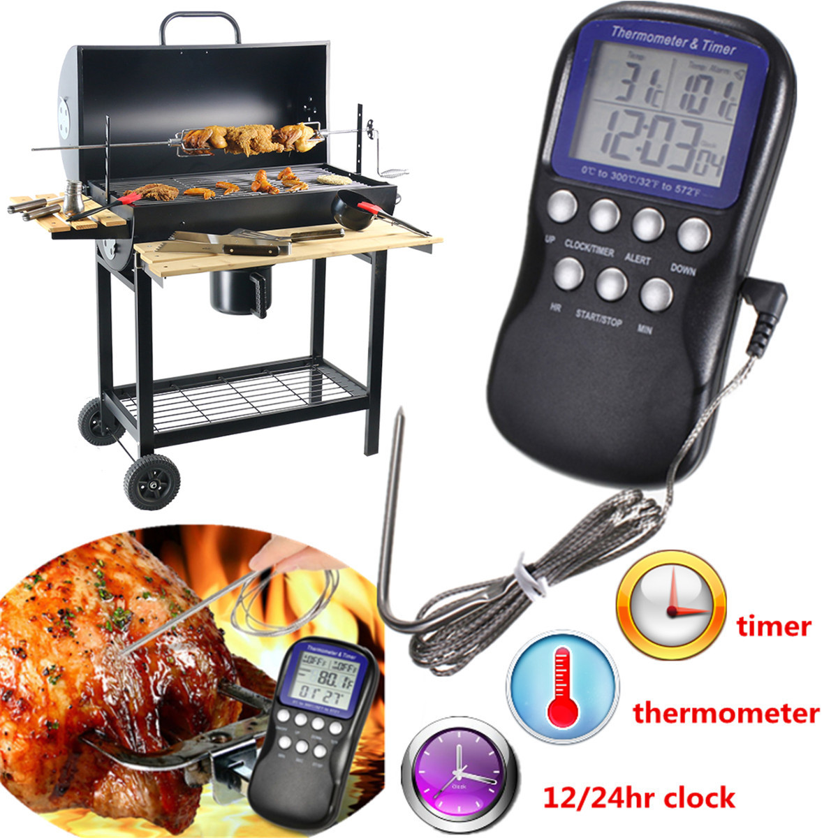 Digital Kitchen Thermometer Timer Oven BBQ Grill Home Cooking Food Meat Clock Alarm Probe 300°C US