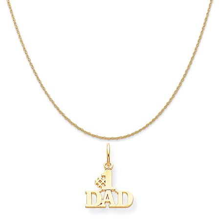 10k Yellow Gold #1 Dad Charm on a 14K Yellow Gold Rope Chain Necklace, 20