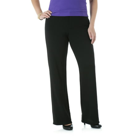 Black Straight Leg Trousers - Lee Riders Women's Ponte Knit Straight Leg Pant