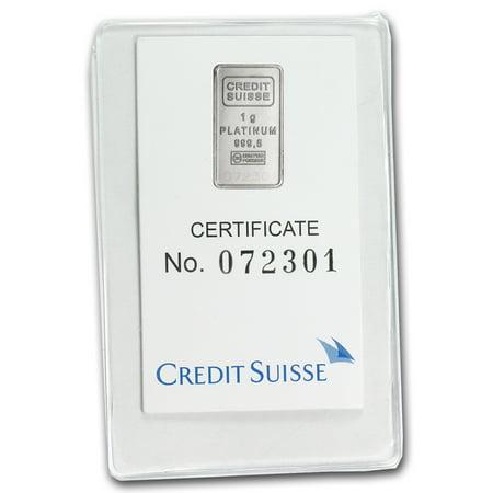 1 Gram Platinum Bar   Credit Suisse  In Assay