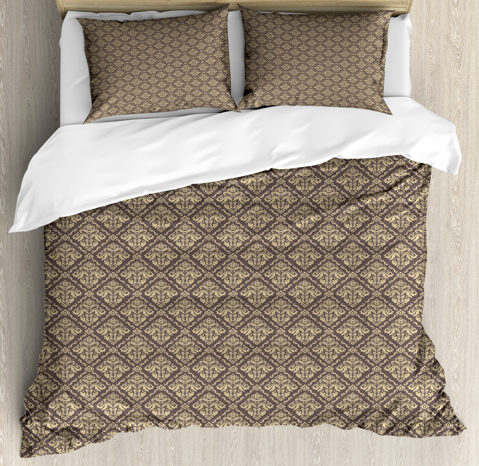Oriental King Size Duvet Cover Set, Classical Pattern with Damask Ornaments Antique Flourish Curly Leaves Pattern, Decorative 3 Piece Bedding Set with 2 Pillow Shams, Taupe and Beige, by Ambesonne