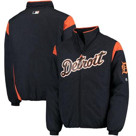 Detroit Tigers Majestic On-Field Therma Base Thermal Full-Zip Jacket - Navy/Orange