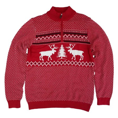 Mens Big & Tall Red Moose Fair Isle Christmas Holiday Zip Neck Sweater (Isle Sweater)