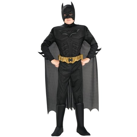Batman The Dark Knight Rises Deluxe Muscle Chest Child Halloween Costume, Small (4-6) - Padded Batman Costume