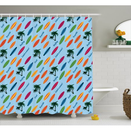 Surfboard Shower Curtain, Exotic Hawaii Vacation Palm Trees and Colorful Boards Water Sports Fun Activities, Fabric Bathroom Set with Hooks, 69W X 84L Inches Extra Long, Multicolor, by Ambesonne (Hawaiian Activities)