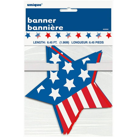 6.5' Paper Cut Out Stars and Stripes Patriotic Garland