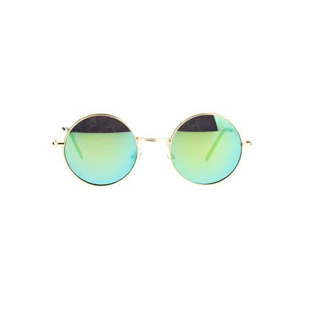John Lennon Circle Lens Mirrored Mirror Lens Wire Rim Round Sunglasses ()