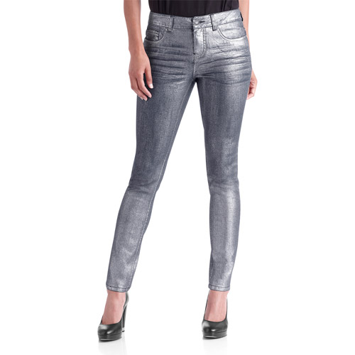 Faded Glory Trend Collection Women's Metallic Coated Skinny Jeans