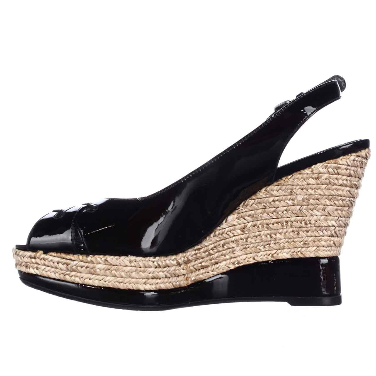 fc1c11f4977 Womens Stuart Weitzman Dolunch Espadrille Wedge Platform Slingback Sandals  - Black Patent