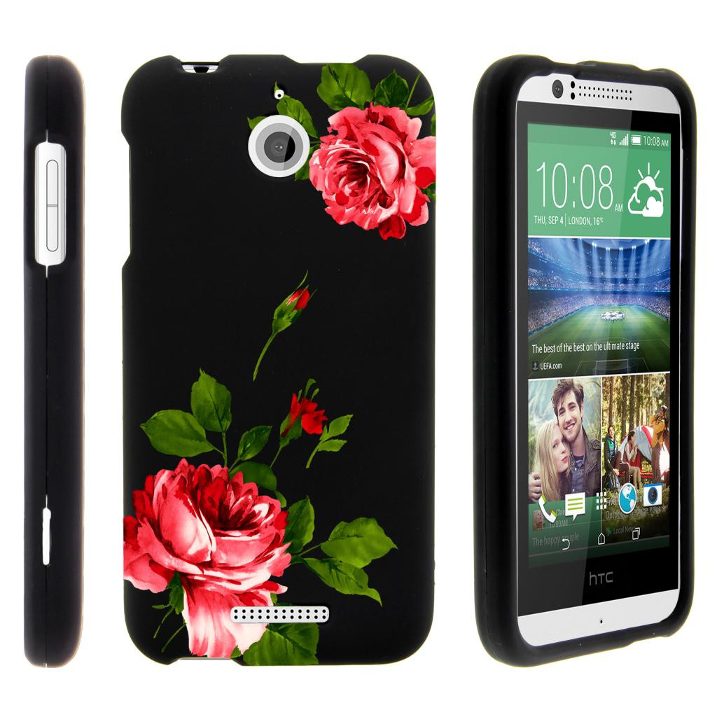 HTC Desire 510, [SNAP SHELL][Matte Black] 2 Piece Snap On Rubberized Hard Plastic Cell Phone Cover with Cool Designs - Affectionate Flowers