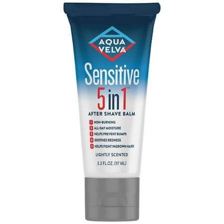 Aqua Velva Sensitive 5 in 1 After Shave Balm, that is Lightly Scented and Provides All-Day Moisture, 3.3 Ounce - Black After Shave Balm