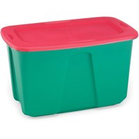 Homz 32 Gallon Holiday Tote, Green/Red, Set 2