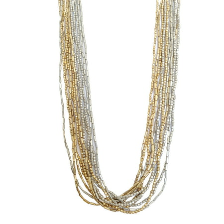 Gold & Silver Multi Strand Beaded Necklace Women Fashion Glass Bead Jewelry - Perfect Party Evening Weekend Statement Necklace - 29