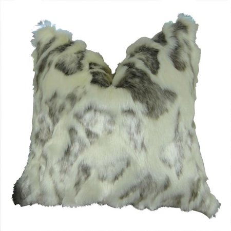 "Plutus Ivory Rabbit Fur Handmade Throw Pillow, (20"" x 30"" Queen) - image 1 of 1"